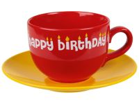 Jumbo Kaffeetasse mit Untertasse - happy birthday